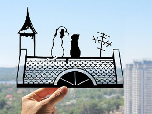 cat and dog on roof dream paper cut Dmytro Iuliia featured