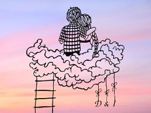 couple sitting cloud dream paper cut Dmytro Iuliia featured