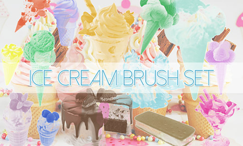 Colorful ice cream brushes photoshop