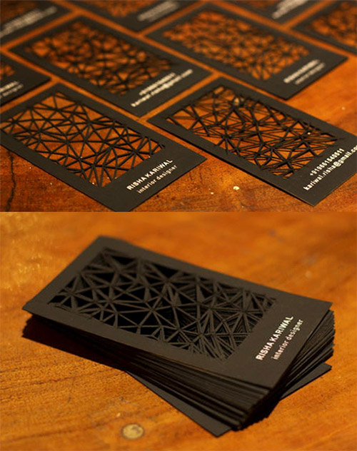 laser cut black business card
