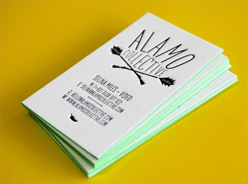 edge color letterpress business card