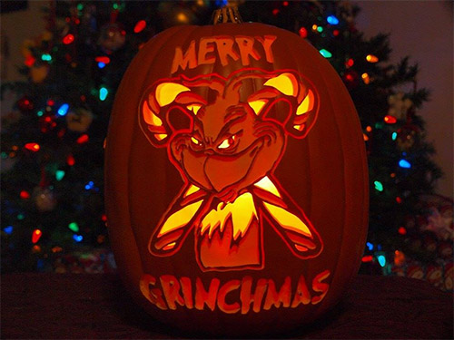 Grinch Christmas pumpkin carving