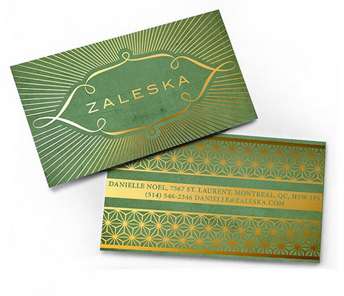 green gold foil business card
