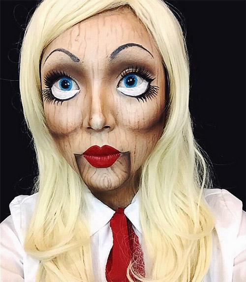 wood effect Halloween makeup