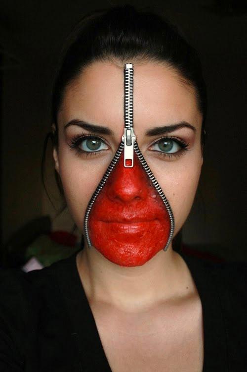 unzipped face Halloween make-up