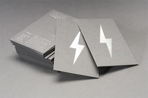 thunder silver foil business card