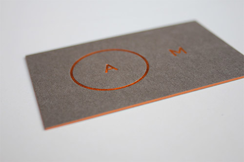 orange foil minimalist business card