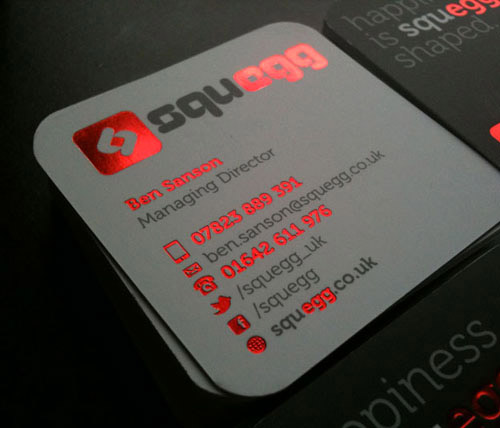 red foil business card