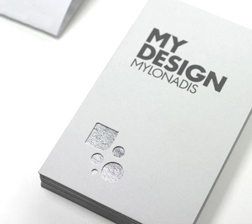 minimalistic silver foil business card design