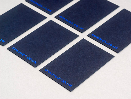 blue foil business card