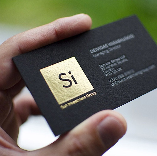 slick gold foil business card