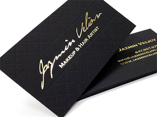 business card for artist gold foil