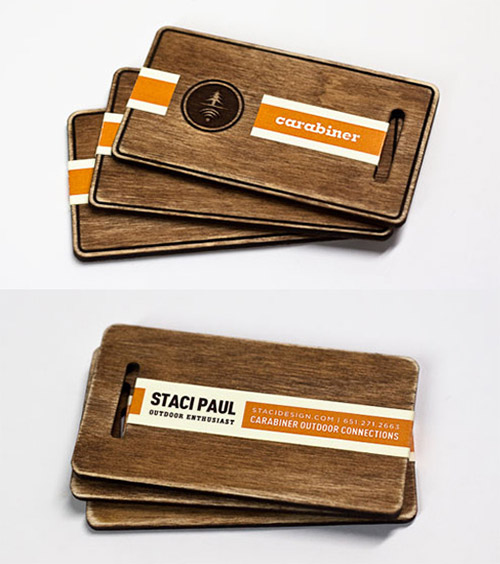 stained wooden business card