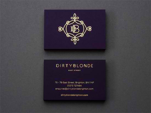 violet gold foil business card