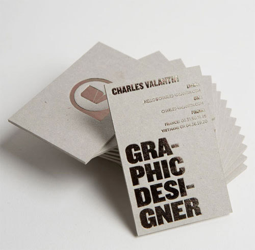 card board business card silver foil