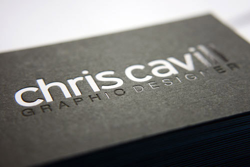 black foil business card