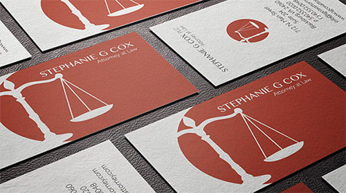 red attorney business card