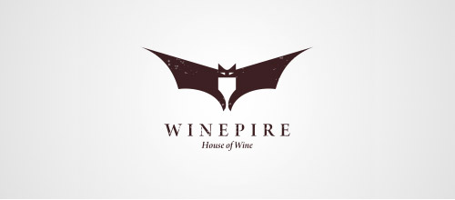 wine logo design bats