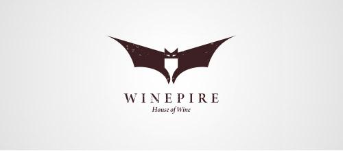 wine logo design bats
