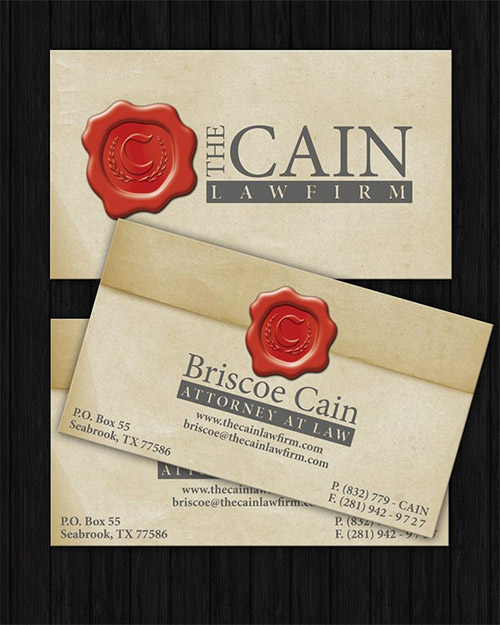 red wax lawyer business card