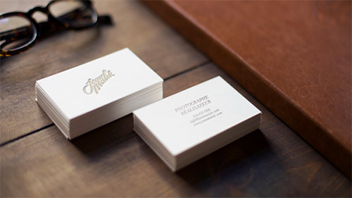 white photography business card