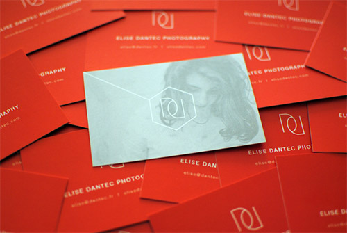 red business card photography