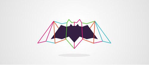 lines logo design bats