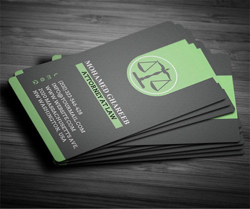 green lawyer business card