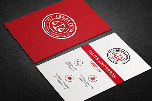 red lawyer business card