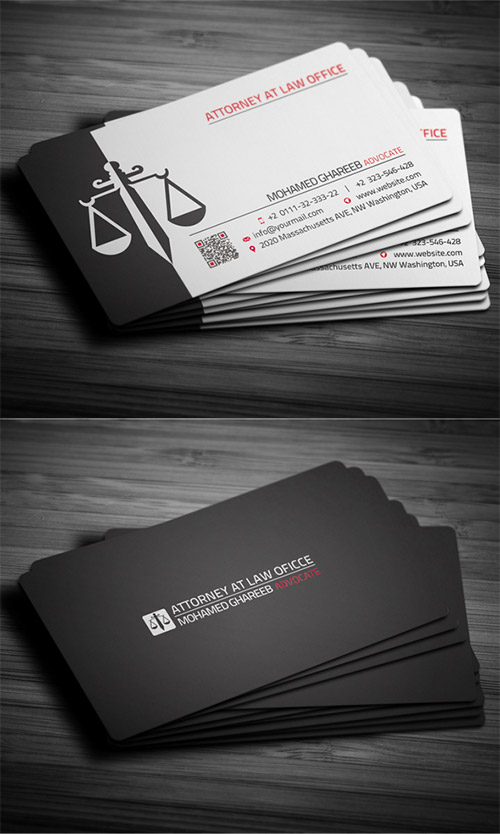 black attorney business card