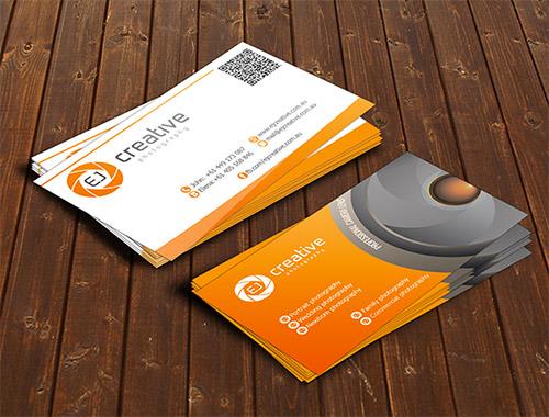 orange photography business card