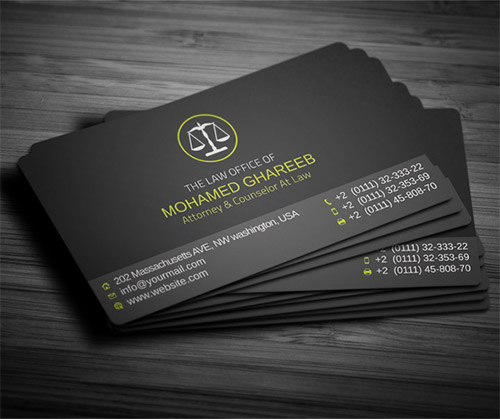 black yellow lawyer business card