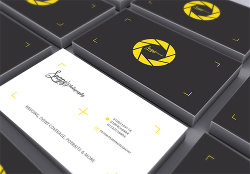 yellow photography business card