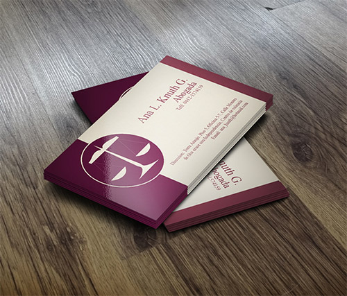 maroon lawyer business card