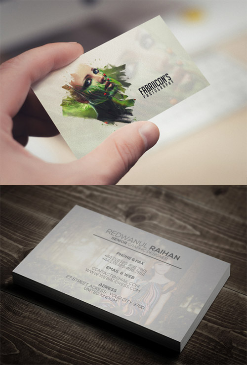 faded photography business card