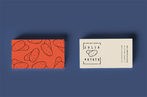 potato business card photography