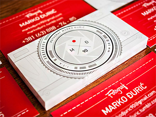 red photography business card