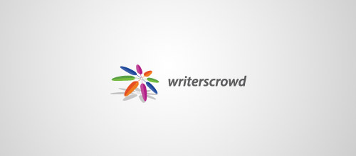 writers crowd feather logo design