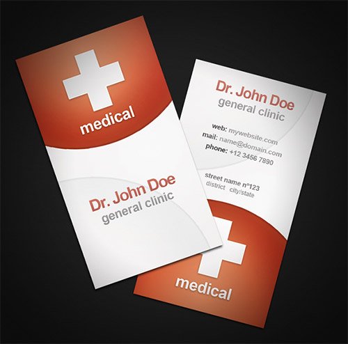 red medical business card