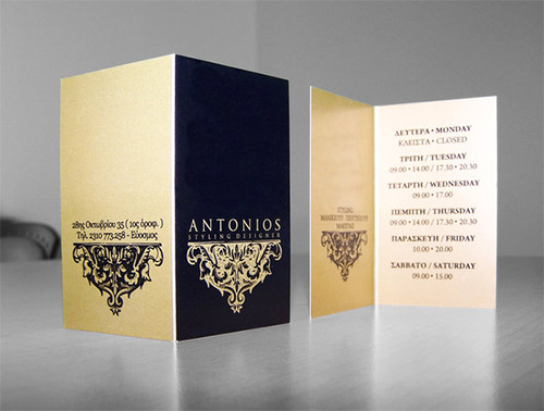 folded business card gold