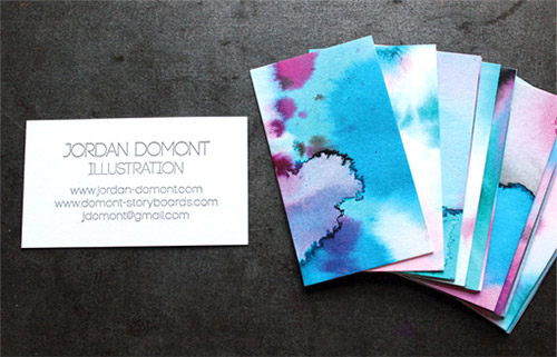 unique watercolor business card