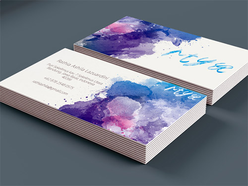 cool watercolor business card