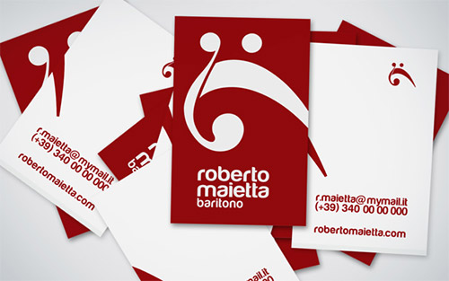 red white business card music