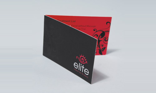 red business card folded