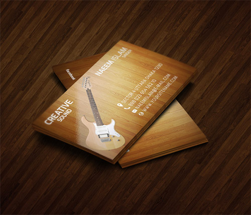 wooden musician business card