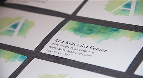 green watercolor business card