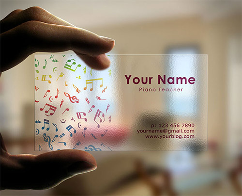 transparent business card musician