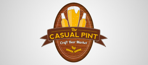 casual pint beer logo