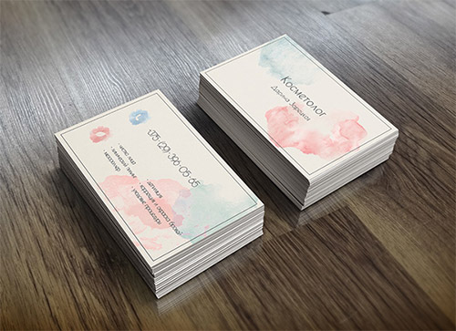 light  watercolor business card