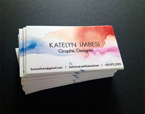 graphic designer watercolor business card